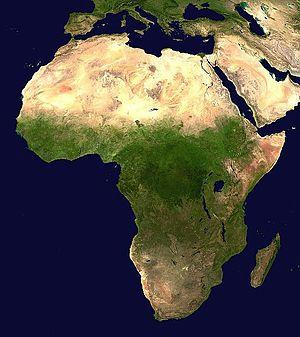 Satellite image of Africa, showing the ecologi...