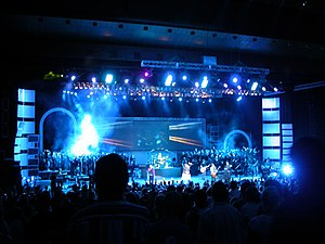 Praise and worship during the opening night of...
