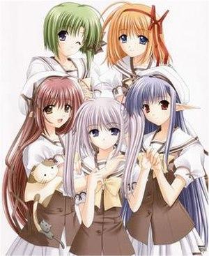 The girls of Shuffle!: Asa (top-left), Kaede (...