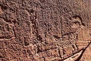 Petroglyph of upside-down man in Western Colorado