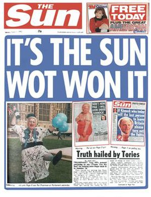 Front-page of The Sun from Saturday 11 April 1992.