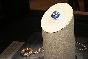 Hope Diamond, unset, on display.