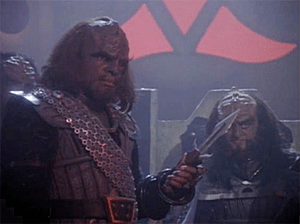 Michael Dorn and Robert O'Reilly as Worf and G...