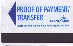A cash fare transfer ticket