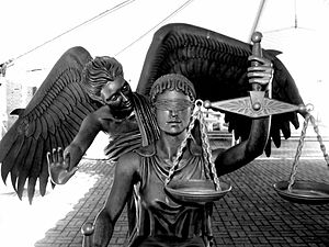 Justice Tempered by Mercy - Statue located in ...