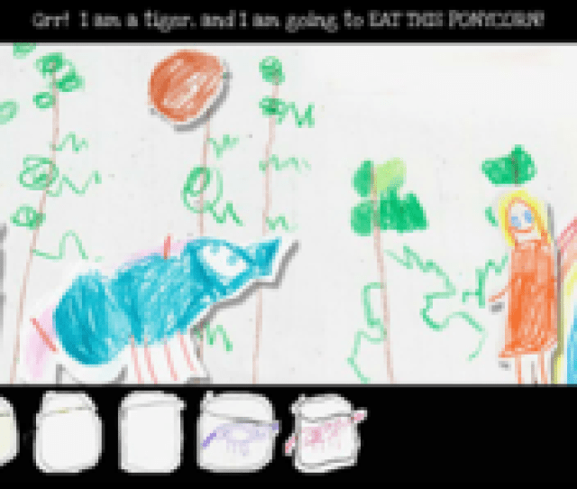 Various Crayon Drawn Sprites Standing On A Crayon Drawn Setting The Designs Are
