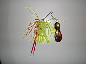 Safety Pin Spinnerbait with a tandem blade con...