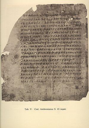 leaf of the Codex Ambrosianus B. Codex Ambrosi...