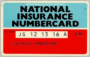 The National Insurance numbercard issued by th...