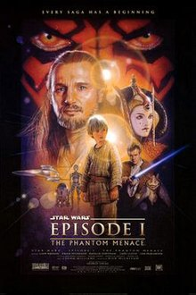 """Illustration depicting various characters of the film, surrounded by a frame which reads at the top """"Every saga has a beginning"""". In the background, there is a close-up of a face with yellow eyes and red and black tattoos. Below the eyes are a bearded man with long hair, a young woman with facepaint and an intricate hat, three spaceships, a short and cylindrical robot besides a humanoid one, a boy wearing gray clothes, a young man wearing a brown robe holding a laser sword, and an alien creature with long ears. At the bottom of the image is the title """"Star Wars Episode I: The Phantom Menace"""" and the credits."""