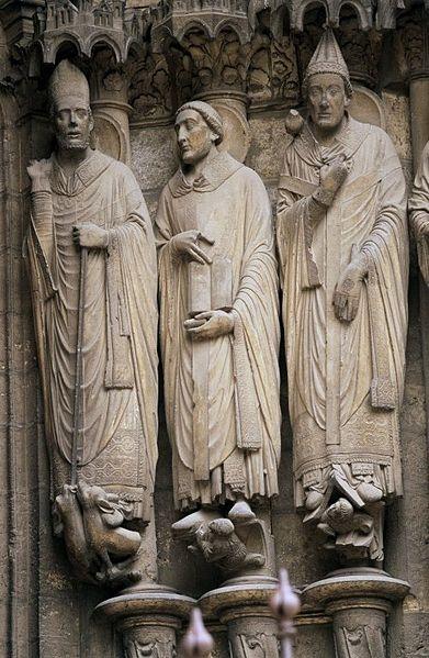 rzeźba św. Marcina, Jeremiasza i Grzegorza, katedra w Chartres