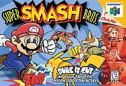 Image of various Nintendo characters fighting: Mario rushing at Pikachu, Fox punching Samus, Link holding his shield and Kirby waving at the player, with a bomb next to him.
