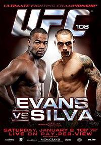 A poster or logo for UFC 108: Evans vs. Silva.