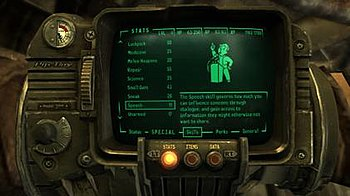 The Pip-Boy 3000, shown displaying the player'...