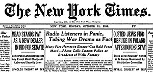 New York Times headline from October 31, 1938