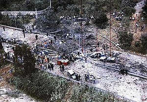 The aftermath of the bomb attack that killed G...