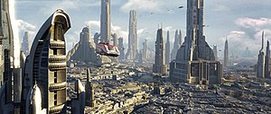 Starspeeder 1000 flying in the planet of Corus...