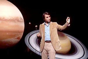 Sagan explains planetary orbits.