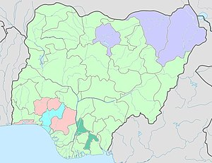 Nigeria Political map (Governor's party by state)