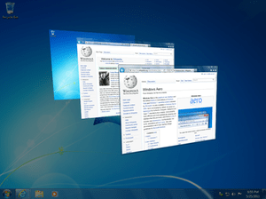 Windows Flip 3D feature being used in Windows 7.