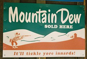 Photo of 1950s Mountain Dew ad in Jakes Corner...