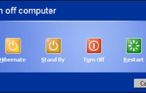 Windows XP shutdown dialog box.