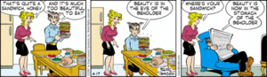 Dagwood has created a typical Dagwood sandwich...