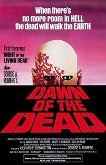 """Painted theatrical release that includes various credits, an ominous zombie looking over the horizon, and the words """"Dawn of the Dead"""" in military print below."""