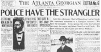 A newspaper headline trumpeting Frank's guilt.