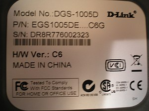 """""""Made in China"""" label on a D-Link Gi..."""