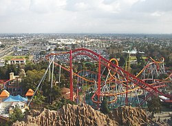 View of the attractions at Knott's Berry Farm from the Sky Cabin