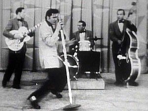 """Presley performing """"Hound Dog"""" on th..."""