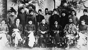 Iqbal with Muslim political activists. (L to R...