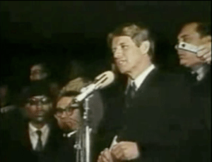 Kennedy giving his speech on Martin Luther Kin...