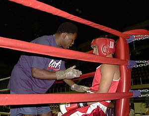 A cornerman giving instructions.