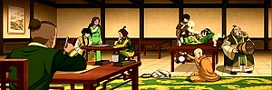 From left to right, Sokka, Mai, Katara, Suki, ...
