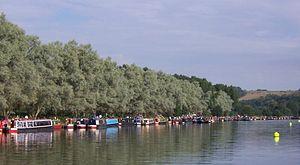 Narrowboats along the Thames at Beale Park for...