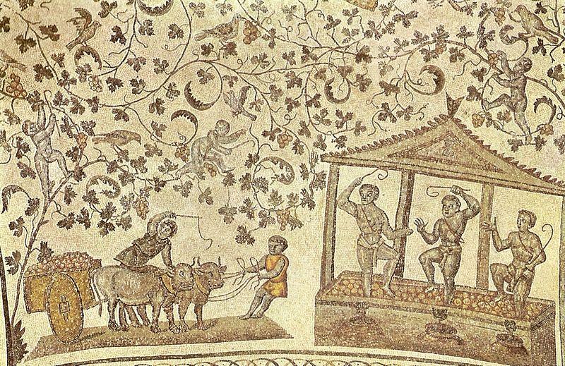 Mozaika z Santa Constanza w Rzymie - winobranie
