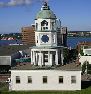 The town clock from behind, on Citadel Hill.