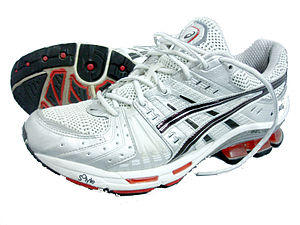 A pair of ASICS running shoes, model GEL-Kinsei