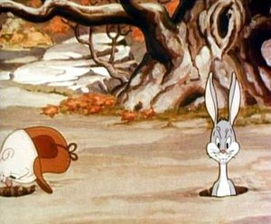 The first on-screen appearance of Bugs Bunny, ...