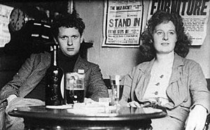 Welsh poet and playwright Dylan Thomas, with h...