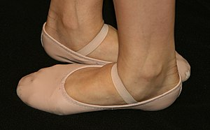 Ballet shoes, showing the dancer's feet in fif...