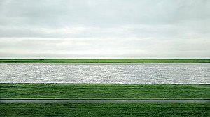 Andreas Gursky, Rhein II, 1999, C-print mounte...