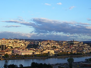 City of Coimbra and the Mondego River in Portugal