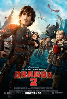 A dark haired boy, holding a helmet by his side, his friends and a black dragon behind him. Dragons are flying overhead.