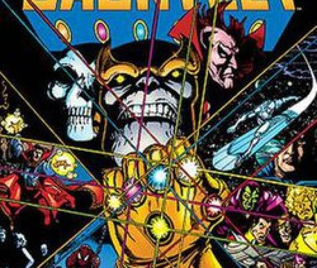 The Infinity Gauntlet Is In The Middle Of The Cover And Glare From Each Gem Extends