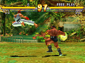 Ryu fighting against Darun in Street Fighter EX 2.
