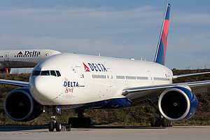 Delta Air Lines's flagship, the Boeing 777-200LR.