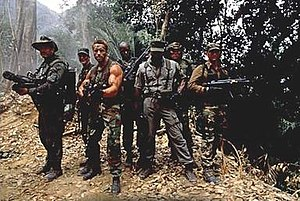 The main cast of Predator. Left to right: Vent...